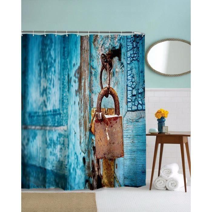 4 rideau douche bleu bois rustique serrure distressed pays garage porte tissu baignoire achat. Black Bedroom Furniture Sets. Home Design Ideas