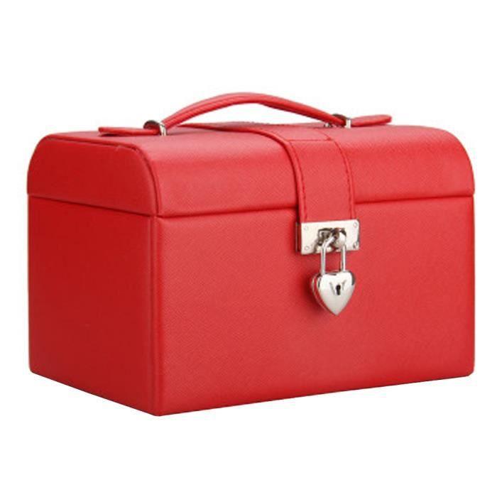 Prime Boîte à bijoux Collier Anneaux boucles doreilles cas organisateur, Rouge