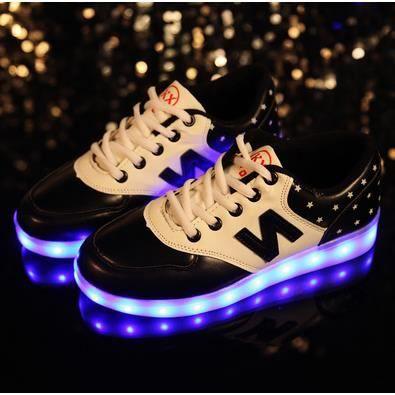 Chaussures chaussures colorées fluorescentes chaussures de recharge USB lumineux LED, noir 43