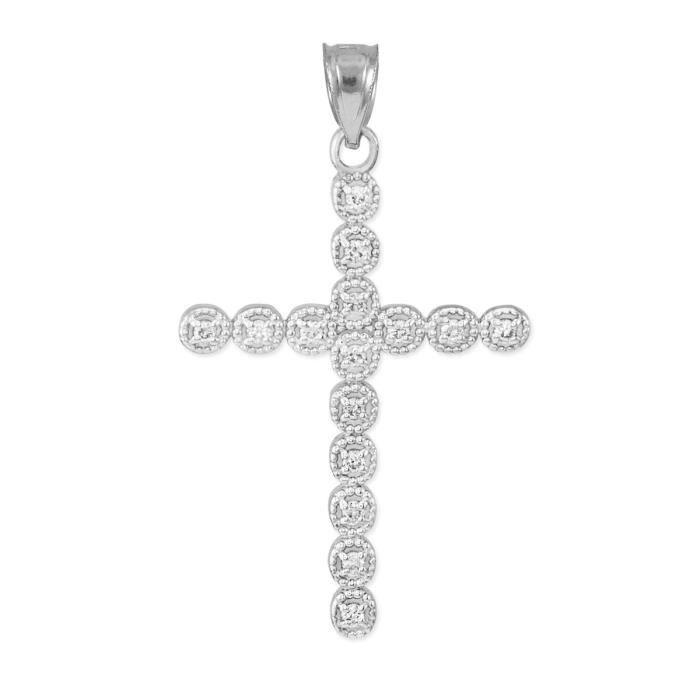Collier Pendentif10 ct Or Blanc 471/1000 Diamants éternité CercleCollier Pendentif Croix (vient avec une Chaîne de 45 cm)