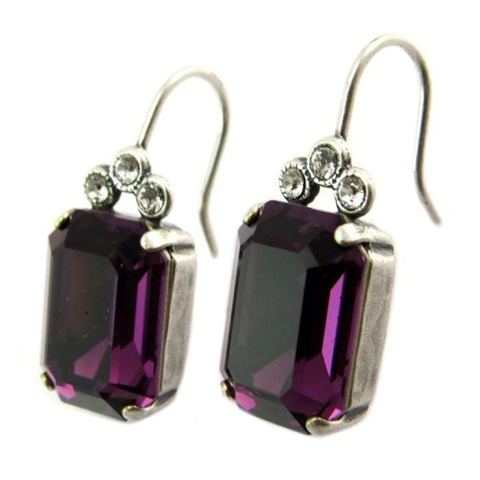 Boucles doreilles artisanales Tsarine violet améthyste argenté - 19x10 mm [P5131]