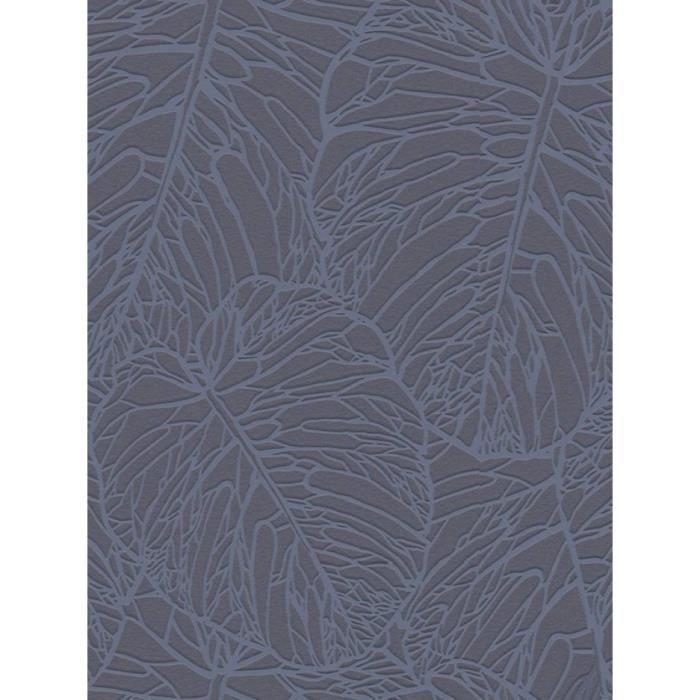 Papier peint de modèle de feuille gris foncé et étain Rasch 609318 ...