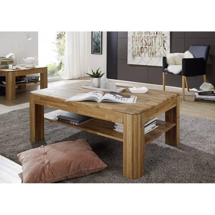 Table Basse 120x80cm Bois Massif De Chêne Sauvage Huilé Bois