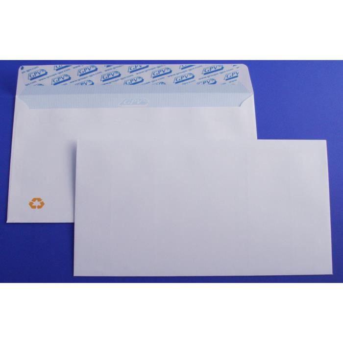 ENVELOPPE Lot de 1000 Enveloppes blanches DL auto-adhésives