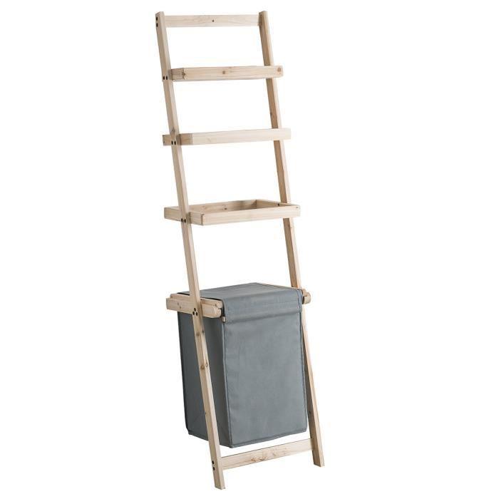 meuble chelle avec panier linge gris achat vente colonne armoire sdb meuble chelle. Black Bedroom Furniture Sets. Home Design Ideas