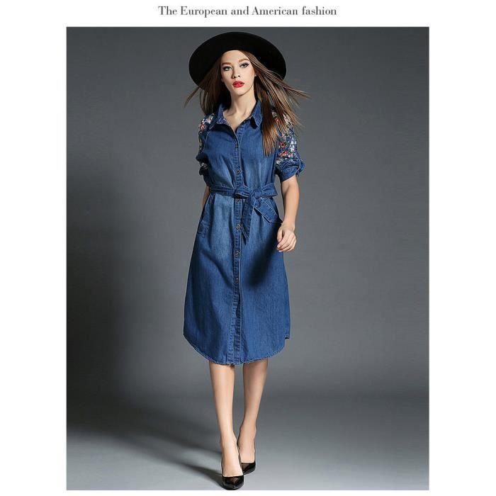5226e435085 Robe en jean bleu brodée du fleurs fashion européenne Collection Femmes le style  européenne