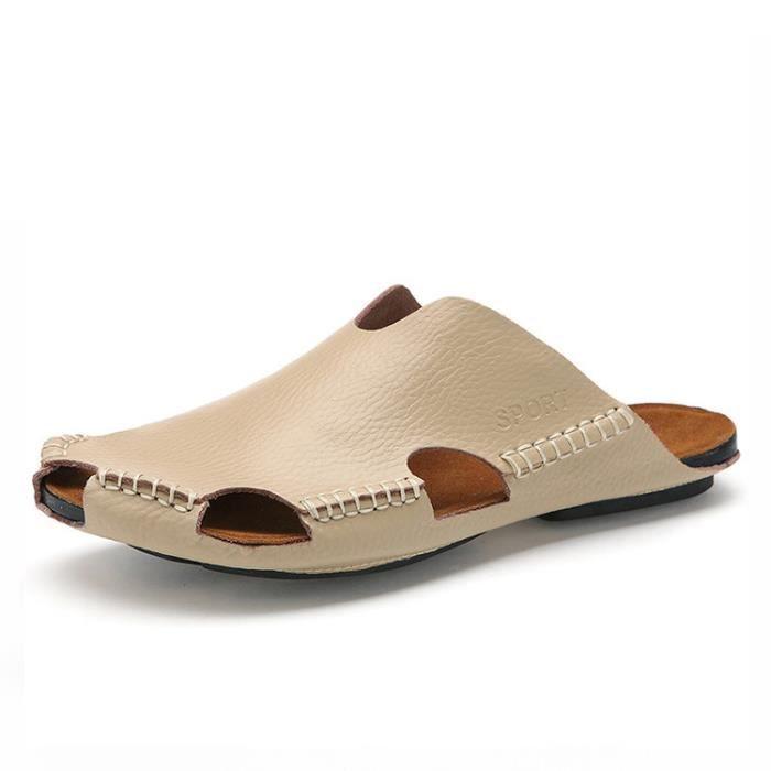 Pantoufles homme l'été cuir sandales