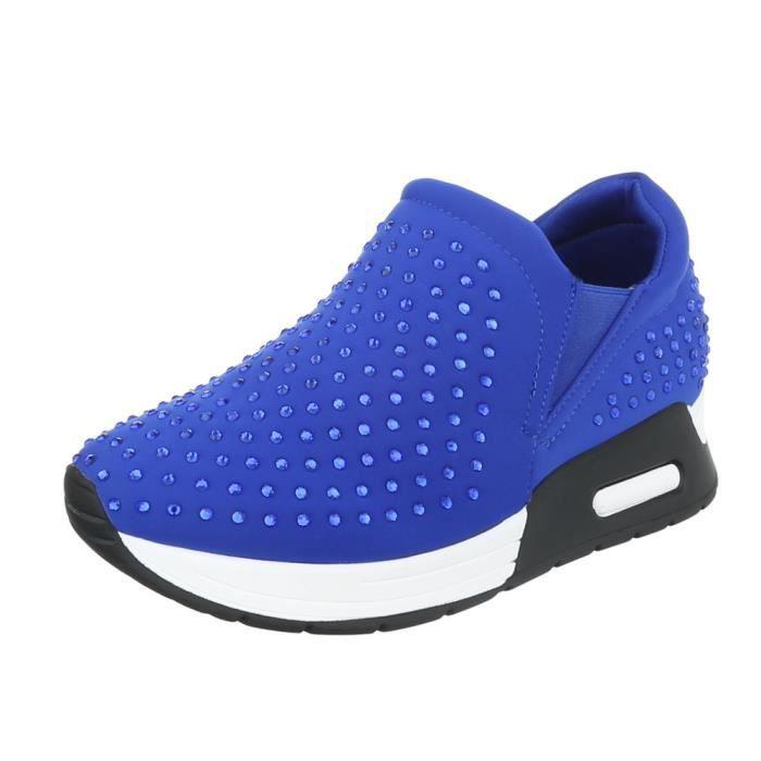 Femme chaussures loisirs chaussures strass incrustée Sneaker bleu 40