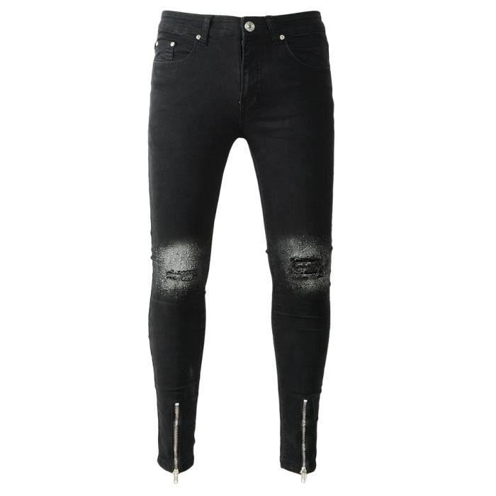 jeans noir dechire homme achat vente jeans noir dechire homme pas cher cdiscount. Black Bedroom Furniture Sets. Home Design Ideas