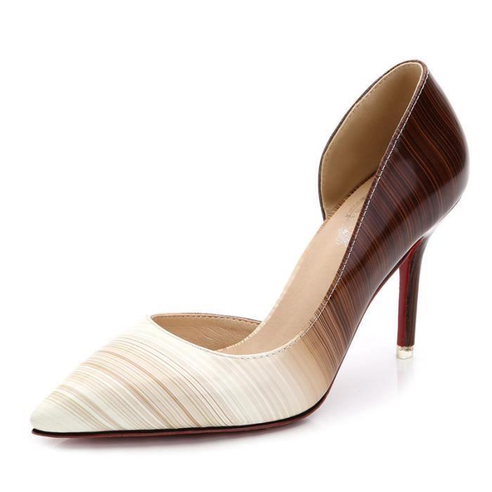 2017 automne nouveau chaussures simples femmes haut talon pompe PU en cuir chaussures de mode européenne et américaine