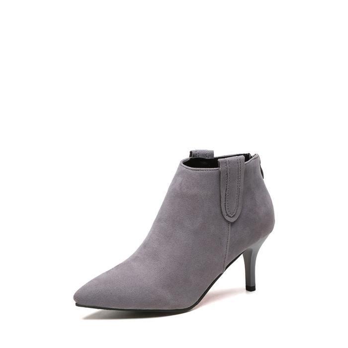 Bottes de cheville de femmes élégantes Solid Color Toe Vogue de Pointu Chaussures à talon mince 10632384