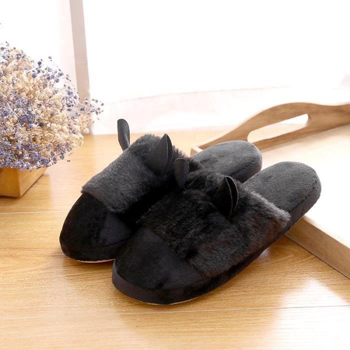Pantoufles femme hiver Forme d'oreille de chat mignon wQOvs