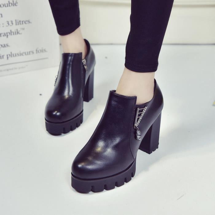 Printemps et en automne Femmes & # 39; section automne chaussures 2017 nouvelle automne hauts talons rugueux femme avec des PIemDT1