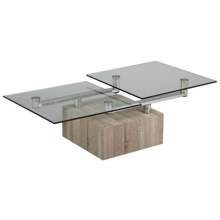 Table Basse Carr E Bois Et Verre