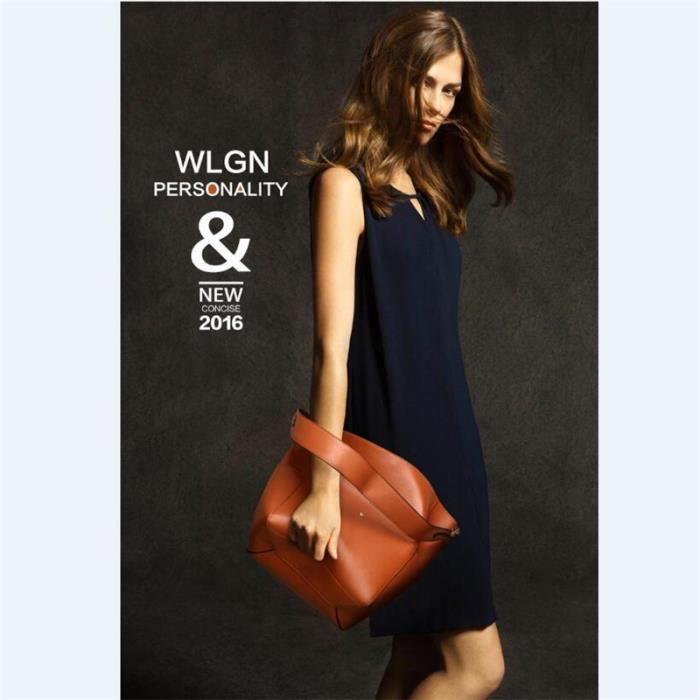 Sac À Main Femme Casual Simple Multi-Fonctionnel En Cuir Véritable Femmes sac à main de marque luxe cuir 2017 Nouvelle Mode noir