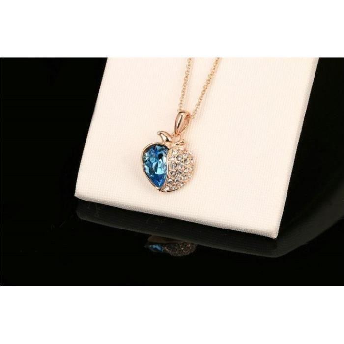 Collier Coeur Plaqué Or et Cristal Bleu Neuf