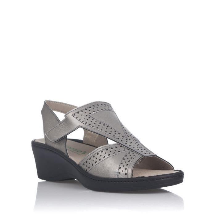 Chaussures nu-pieds femme 6835 PIEL METALIZADA Platine - Color - Platine WDnaxTgC