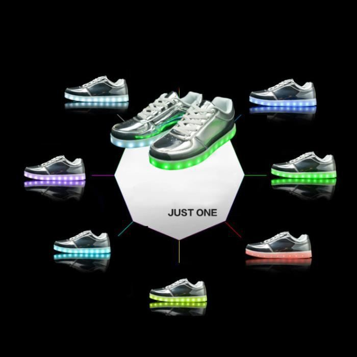 Chaussures LED Multicouleurs 7 Couleurs USB Rechargeable Unisexe Femme Homme Sneakers Lumière Clignotants Grande Taille UtX3GamlI0