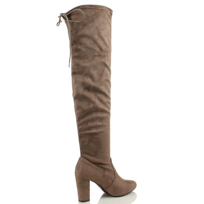 Delicious Faux Suede Back Tie Over The Knee Chunky High Heel Dress Boot WP196 Taille-38