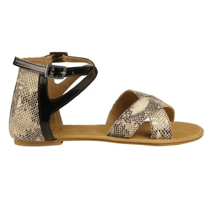 Women's Print Sandals Snakeskin Taille Flat 37 N2zrr TawqZxT5r