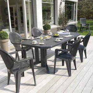 Table de jardin Vega 220 GROSFILLEX - Anthracite - Achat ...