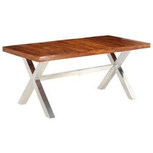 TABLE À MANGER SEULE vidaXL Table de salle à manger Bois et finition en