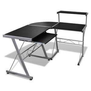 MEUBLE INFORMATIQUE Grande table de bureau noire pour ordinateur