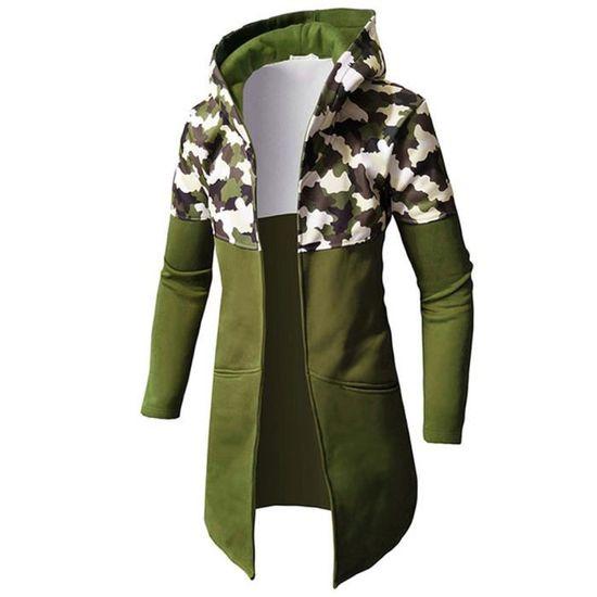 Casual Camouflage Manches Veste Manteau À Longues De Top Hiver Verte Chemisier Automne armée Zipper Hommes pwxpqr