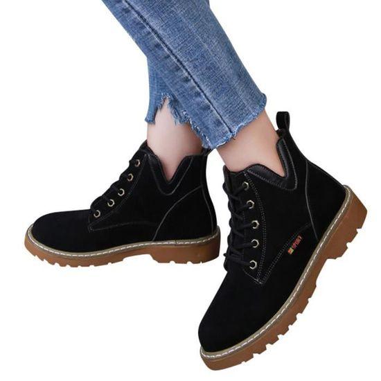 Pageare1101 Bout En Chaussures Bottes Femmes Plat Rond Daim Loisir Martin Lacent Bottillons waPtCxq5
