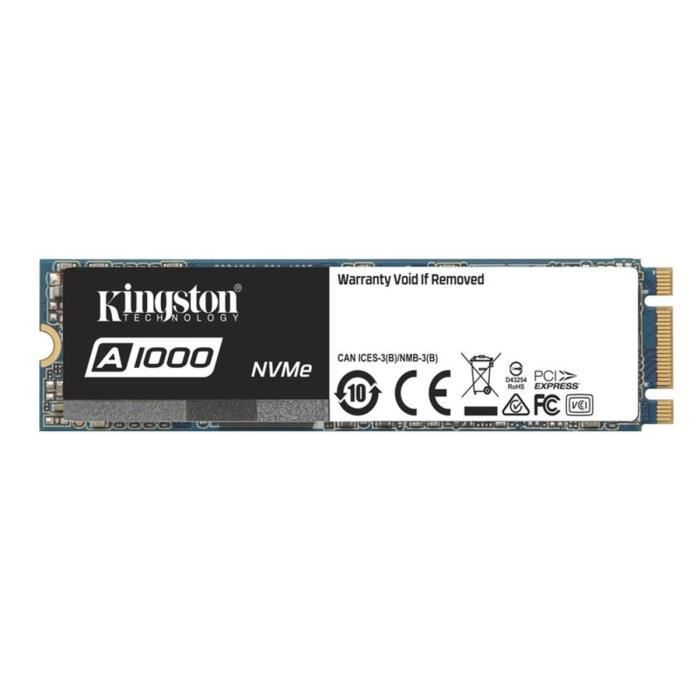 Kingston SSD Interne A1000 NVMe M.2 (480Go) - SA1000M8/480G