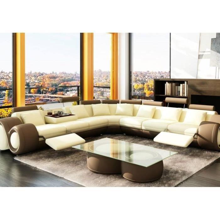canap d 39 angle cuir beige et marron t ti res rel achat vente canap sofa divan cdiscount. Black Bedroom Furniture Sets. Home Design Ideas