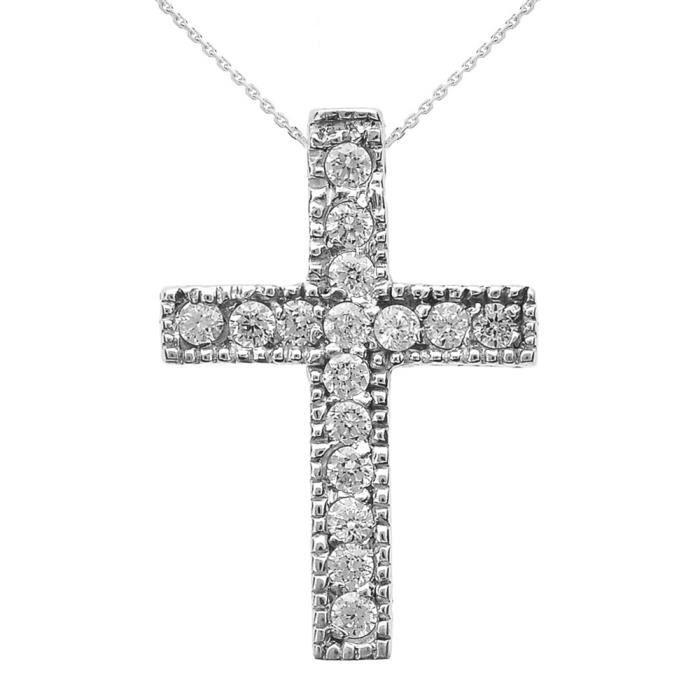 Collier Femme Pendentif 14 Ct Or Blanc Milgrain Bordé Diamant Croix (Petit) (Livré avec une 45cm Chaîne)