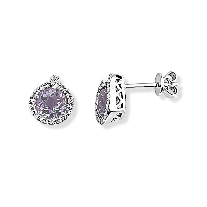 Jewelco London Dames Or blanc 9k 0.14ct Diamant Goujon des boucles doreilles