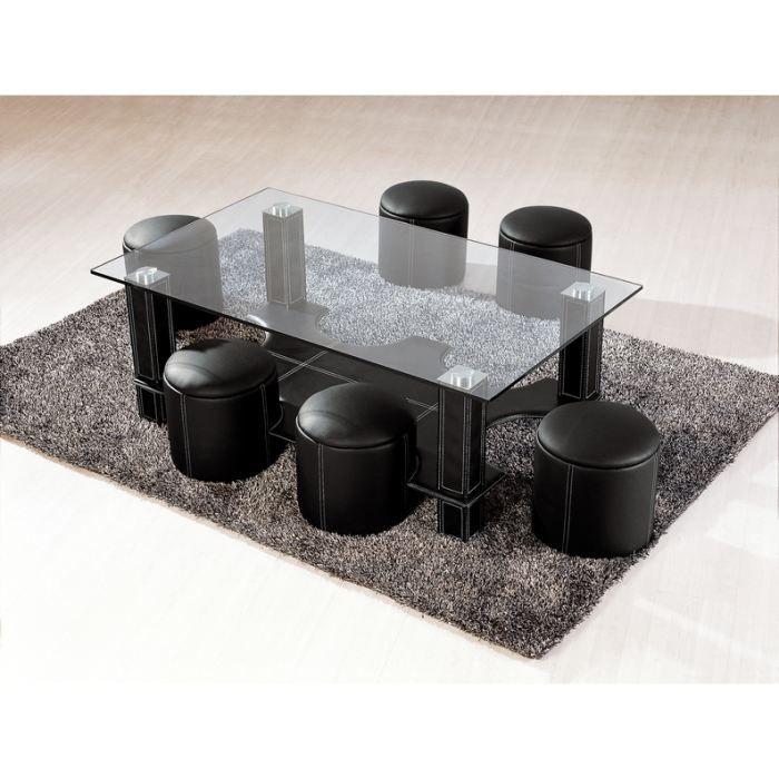 Table basse avec 6 poufs galo en verre noir achat - Table basse verre noir ...