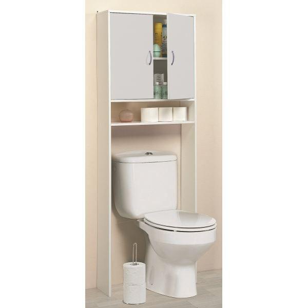 Rangement sanitaire luna 2 portes 1 niche achat vente for Meuble wc ikea