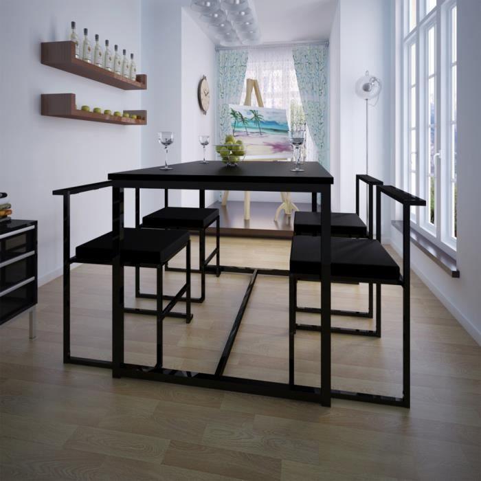 4pcs Chaises Table En Mdf Et Fer De Salle A Manger Ou De Cuisine