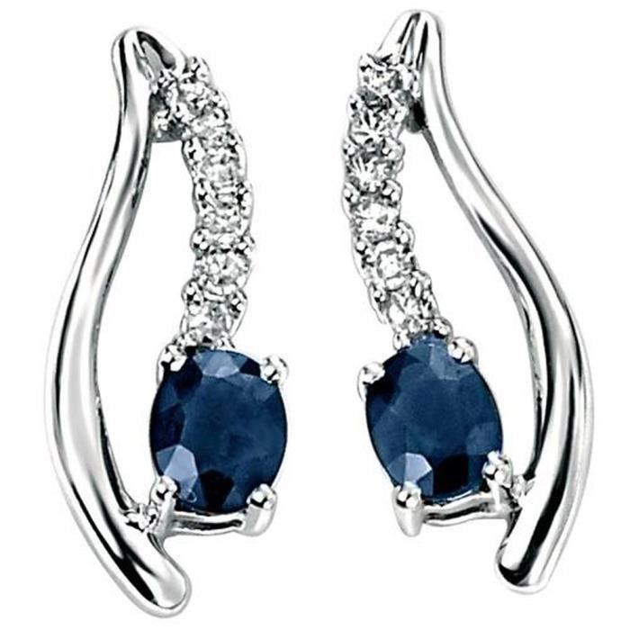 souvent Mon-bijou – D8 - Boucle d'oreille Saphir bleu e - Achat / Vente  FN88