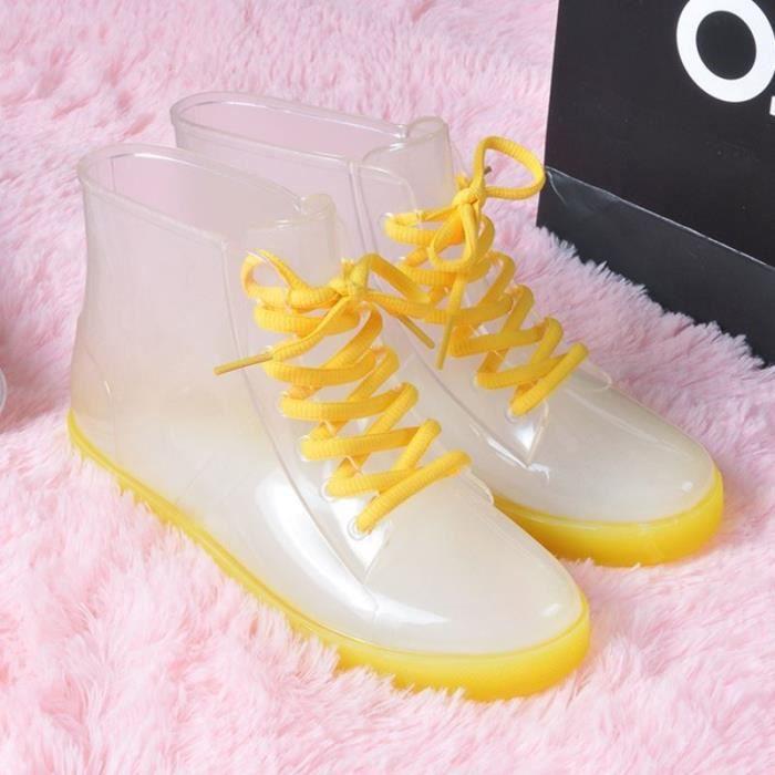 Mode féminine Casual Couleur Candy mignon imperméable Bottes de pluie Temps froid Stay Dry Bottes Transparent femmes Chaussures