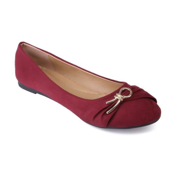 0d9e6f46de5569 Ballerines bordeaux en suédine avec décoration grande taille Rouge ...