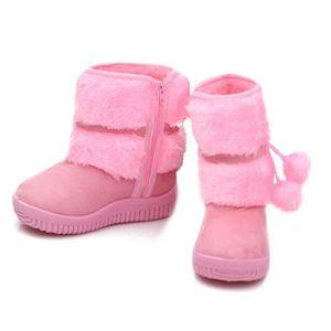 Hiver Bottes Enfants En Peluche Chaussures Filles Garçon Bottines BBDG-XZ095Rose21 ydc6m