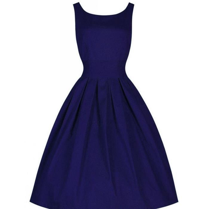 Robe femme Finejo sans manches vintage rétro taille était mince grande robe jupe tutu