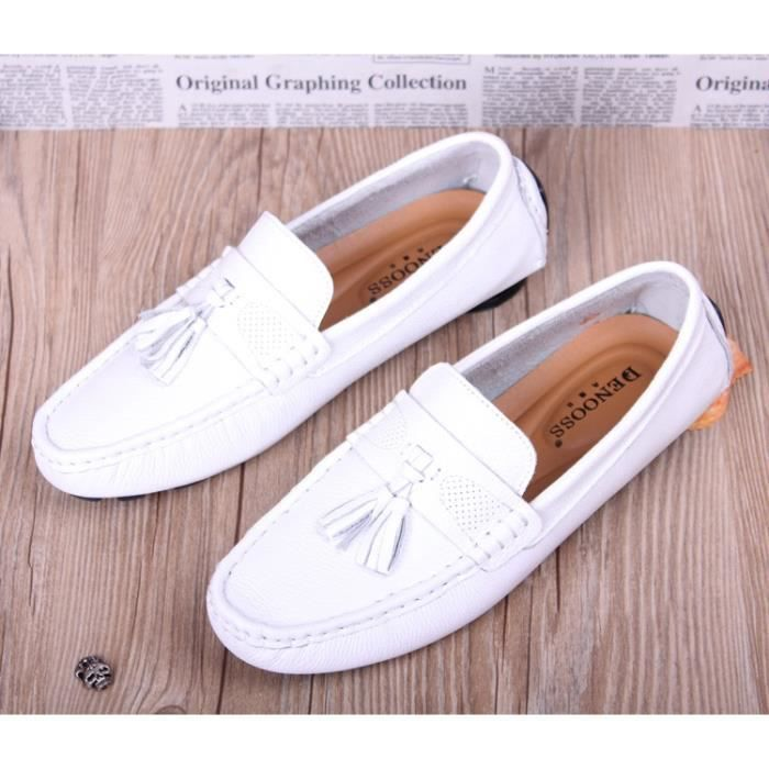 2017 Nouvelle-Angleterre Doug Chaussures Blanc Homme en cuir respirant Lazy Casual Pro Pedal Driving