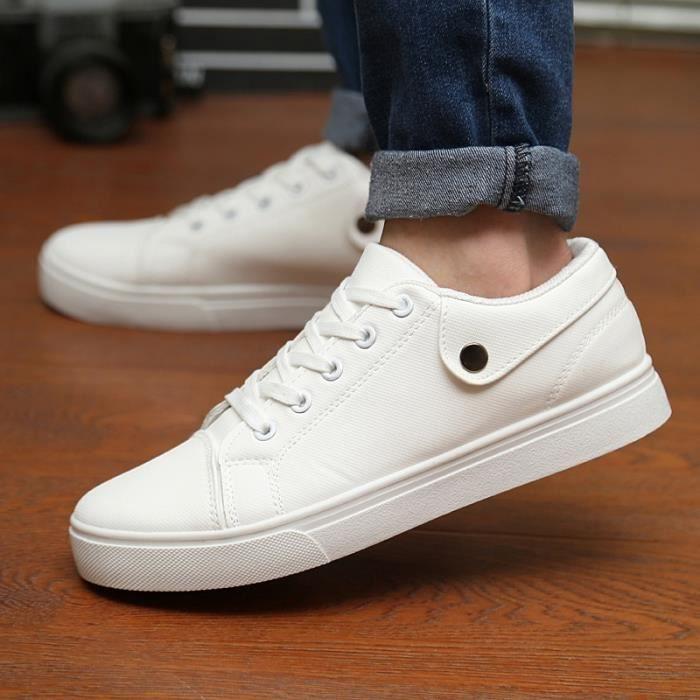 Basket Blanc 10.5 Antidérapants et respirant Lace Up Casual Étudiant Mode blanc toile Chaussures