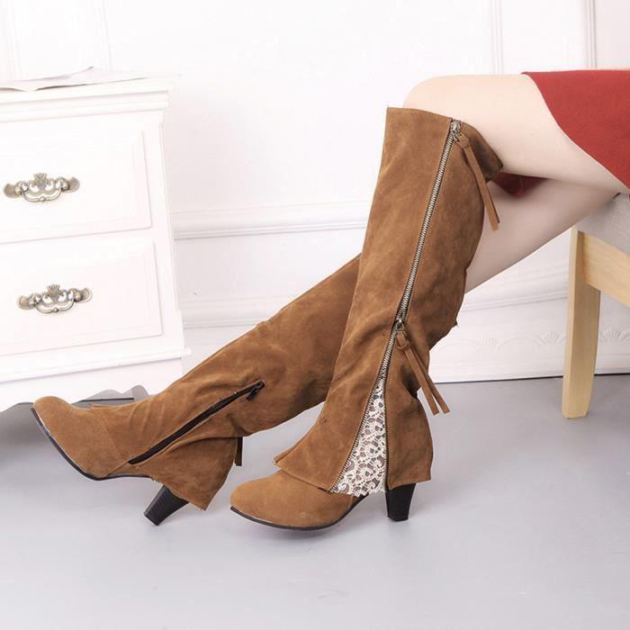 Sidneyki®Femmes Femmes Wedge Buckle Biker Cheville Garniture à talons hauts Zip Lace Bottines Chaussures marron WE604