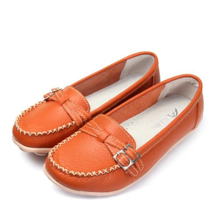 xz088orange39 jaune Mode Classique Chaussures noir Marron Detente Loafer Bgd orange Femmes Mocassin RqwxgTW