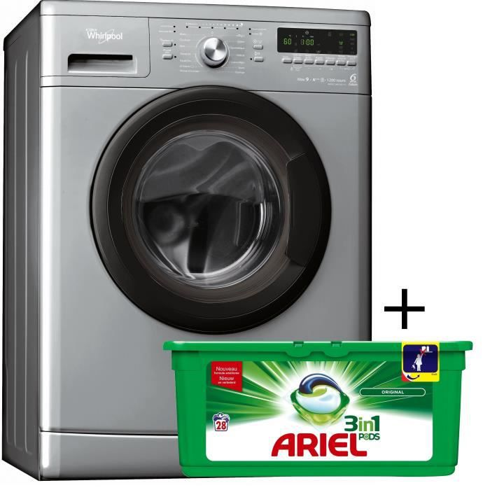 PACK lavage Whirlpool AWO-C9123-1S - Lave-linge 8kg A+++ 6ème Sens + ARIEL PODS LESSIVE 81623086 - Boite de 28 pods 3 en 1 regular