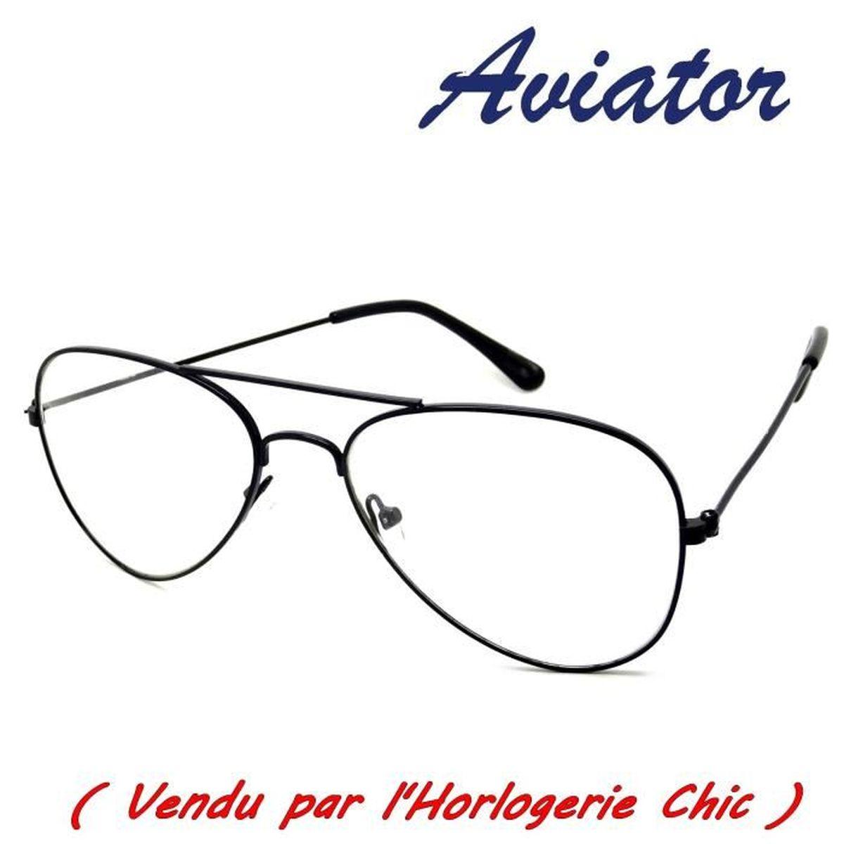 Lunettes Homme Femme Aviator Aviateur Noir Vintage Pilote Vue Transparente New lkCfMX