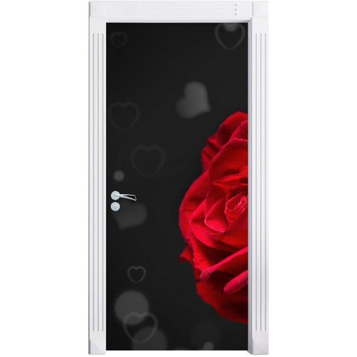 roses rouges pour le jour de la saint-valentin noir / blanc mural