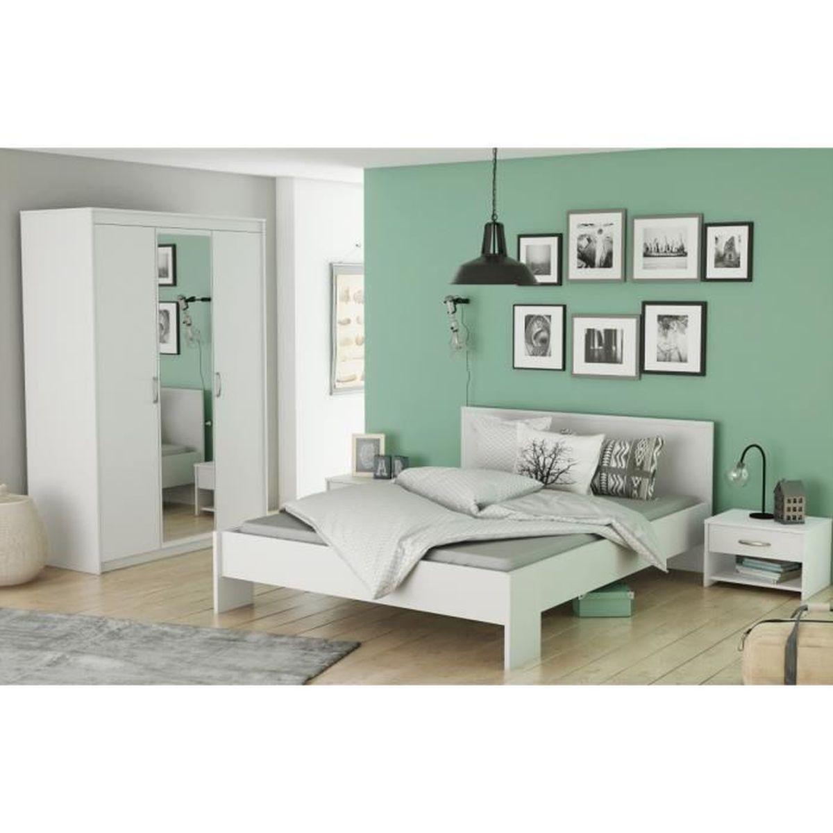 Chambre Adulte En Bois Blanc Perle Cb126 160x200 Achat