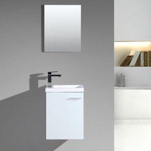 Lave-mains d\'angle complet pour WC avec meuble design blanc - Achat ...